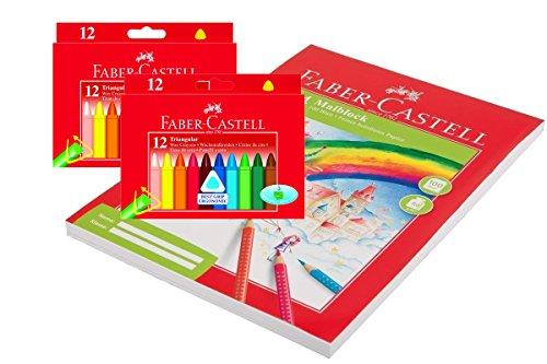 Faber-Castell 120010 - Dreikant Wachsmalstifte, 12er Etui | 2er Sparpack + Malblock 100 Blatt