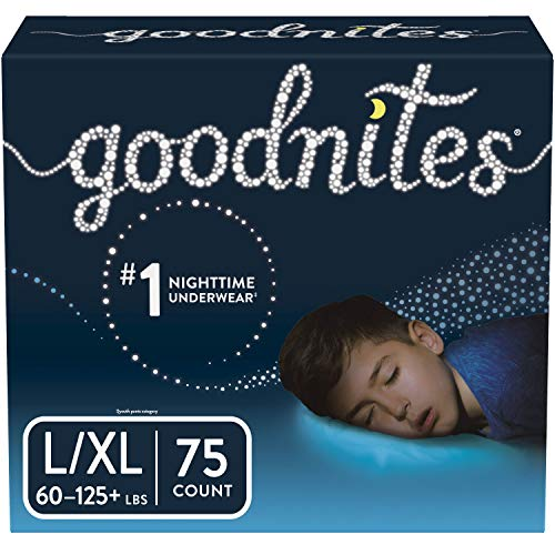 Goodnites Bedwetting Underwear for Boys, Large/X-Large (60-125+ lb.), 75 Ct, Stock Up Pack (Packaging May Vary)