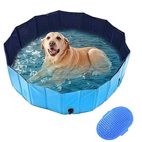 DBREAKS Piscina per Cani, Dog Pool Portatile Pieghevole, Vasca per Cani Bagno in PVC per Gatti, Pet Pool 160x30cm Blu