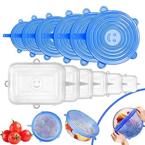 O-Kinee Tapas de Silicona EláSticas 12 pcs Tapas Silicona Reutilizables Silicone Stretch Lids,para Lavavajillas,Horno Microondas,Congelador,Libre de BPA (Azul)