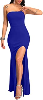 YMDUCH Women's Bodycon Strapless Lace up Side Split Backless Cocktail Maxi Dress