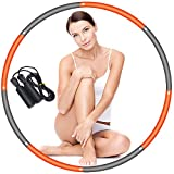 Yibaision Hula Hoop for Adults Weight Loss & Kids, Collapsible & Adjustable Weighted Fitness Exercise Hoola Hoop and Jump Rope for Women - Orange + Grey
