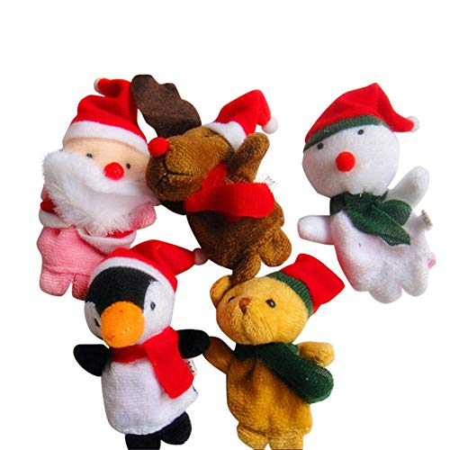 Vektenxi Premium Qualität Fingerpuppen Muster Weihnachten Puppe Set Spielzeug 5 stücke Kinder Tuch Puppe Spielzeug