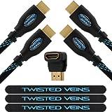 Twisted Veins 2ACHB6 Pack de 2 Câbles HDMI 1,8 m Nouvelles Normes Compatible Avec Ethernet, Retour Audio, 1080P, 3D, 4K, Ultra...