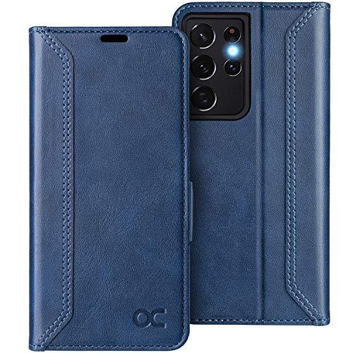OCASE Retro Hülle Samsung Galaxy S21 Ultra Handyhülle Tasche PU Leder Flip Cover Brieftasche Etui RFID Schutzhülle Lederhülle Klapphülle Kompatibel für Galaxy S21 Ultra Blau 6,8 Zoll