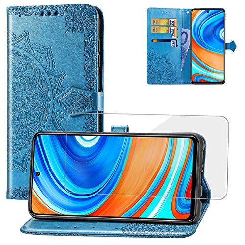Yohii Funda Xiaomi Redmi Note 9S/9 Pro/Pro MAX + Cristal Templado, Piel PU Soporte Plegable Ranuras Cartera con Tapa Tarjetas Magnético Cuero Flip Carcasas, Case para Xiaomi Redmi Note 9S - Azul