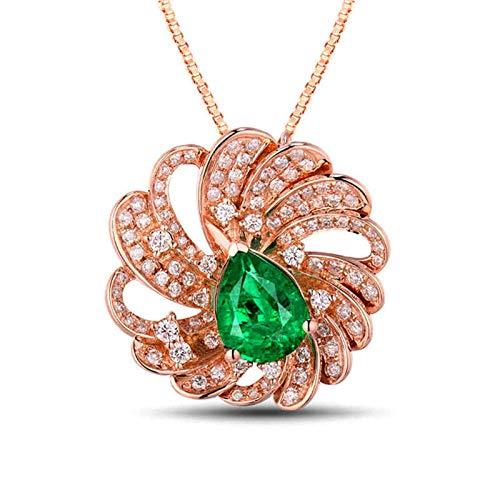Bishilin Colgante de Cadena de Oro Rosa de 18K, Flor Collares Pendientes 1.5ct Esmeralda Elegante Collares Hipoalergénicos para Adolescentes, Niñas Y Mujeres para Cumpleaños Navidad Oro Rosa