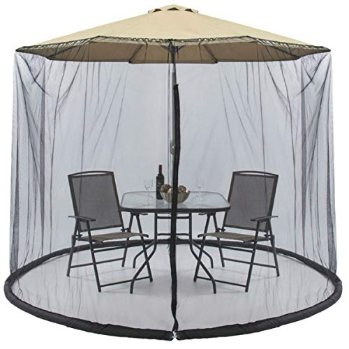 H&ZT Mosquito Netting, Patio Umbrella Table Screen, Polyester Backyard Lawn Umbrella Cover with Zipper Door, Fits 9-10ft