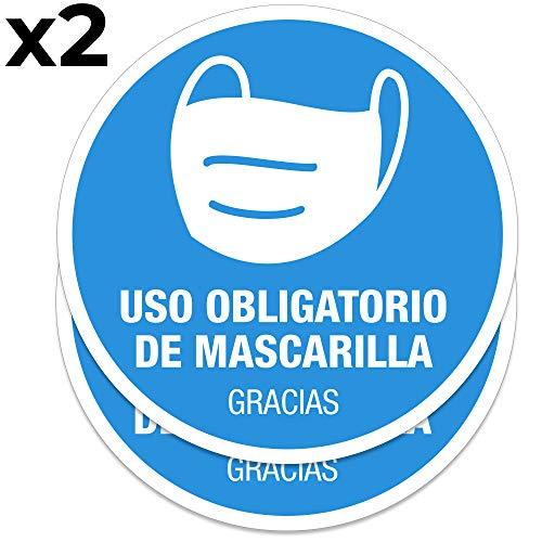Pack 2 señales adhesivas'Uso obligatorio de mascarilla' texto en español | 2 unidades de 16 cm