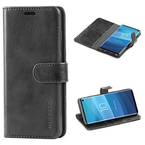 Mulbess Handyhülle für Samsung Galaxy S10 Hülle, Leder Flip Hülle Schutzhülle für Samsung Galaxy S10 Tasche, Schwarz