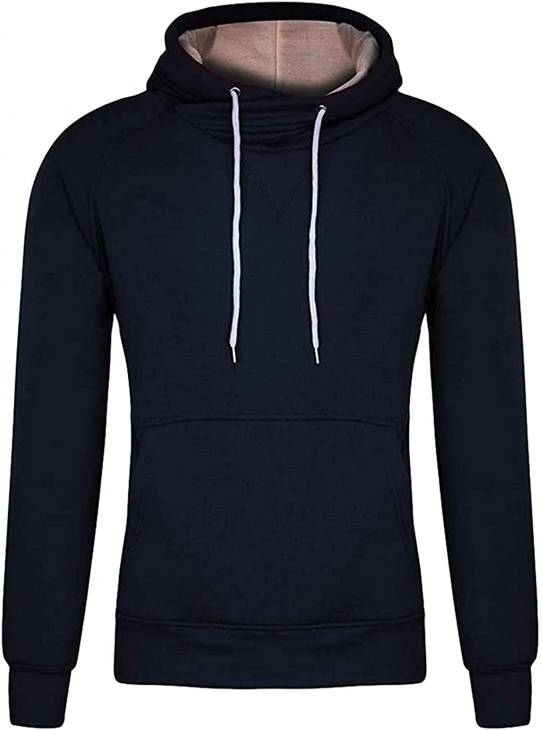 Men Hooded Sweatshirts Casual Sports Solid Hoodies Pullover Yoga Workout Long Sleeve Tops Men's Blouses with Pocket