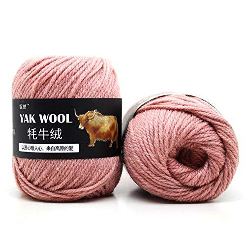 500g Strickwolle Wollgarn Kaschmir - Häkelgarn gemischt Yak Wolle & Wolle & Merzerisierter Samt für kleine und Kinder Garnprojekte Basteln Stricken Häkeln Mehrfarbig Rosa