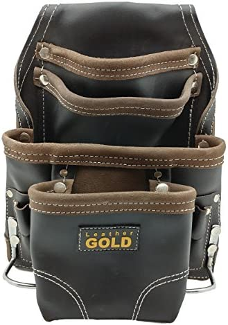 Leather Gold Heavy Duty Tool Pouch Carpenters Tool Pouch 3150 Black Oil Tanned 10 Pockets 2 product image