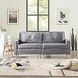 Sofá de 3 plazas para salón, cómodo sofá moderno con elementos de diseño discretos, núcleo de muelles y espalda suelta, 194 x 76 x 90 cm (gris)