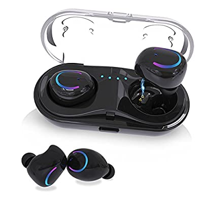 Wireless Earbuds, KNGUVTH Bluetooth Headphones V4.2 Mic Earpieces True Wireless Stereo Hands Free Call In Ear Sweatproof Sport Earphones Noise Cancelling Headset with Charging Box