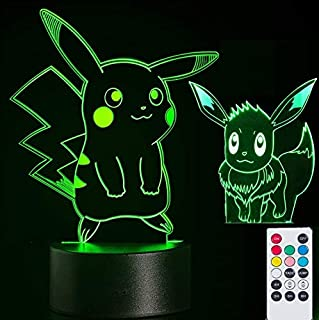2-in-1 Pikachu & Eevee 3D Lamps Nightlight for Kids,7 Colors Touch Switch & Remote Control Table Desk Lamps Holiday Xmas Gifts Room Decor for Nursery Baby Toddler