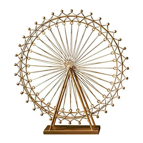 NYKK Art Decorative Statue Iron Rotatable Ferris Wheel Statue Decor Figurine For Office Kids Toy Ferris Wheel Decor Home Décor Products
