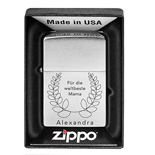 Zippo aansteker met gravure - Wereldbester Papa: Stormaansteker met gewenste naam gepersonaliseerd - inclusief geschenkverpakking, aanstekerbenzine en reservevuurstenen