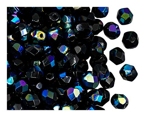 Fire Polished Beads 50 PCS Perline tonde sfaccettate lucidate a Fuoco 6mm, Jet Black Ab, Vetro Ceco