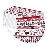 Einweg Weihnachtsmaske 50 Stücke Mund und Nasenschutz mit Motiv Christmas