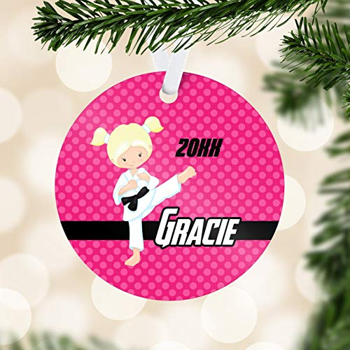 Toll2452 Personalized Karate Ornament Pink Polka Dots Ninja Holiday Decor Black Belt Karate Ornament Childs Name