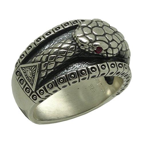 Masonic Ouroboros All Seeing Eye Pyramid Vintage Illuminati Biker Band Sterling Silver 925 Mens Ring, Ruby color stones (R 1/2)
