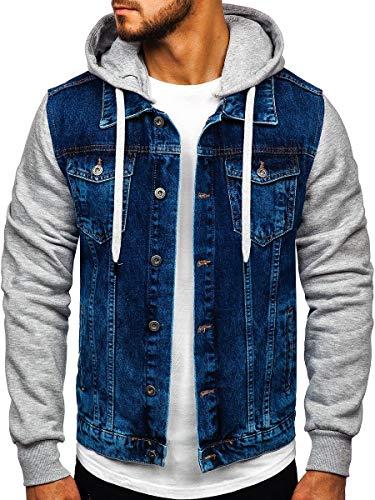 BOLF Herren Übergangsjacke Jeansjacke Sportjacke Freizeitjacke Reißverschluss Kapuze Street Style RWX 211902 Dunkelblau L [4D4]