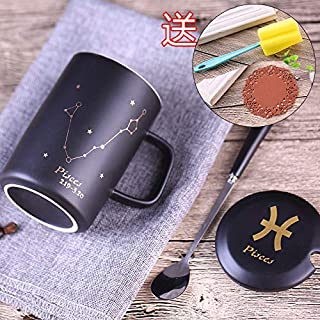 Water cup ceramic cup, frosted ceramic coffee mug, mug, gift cup, teacup,Twelve constellation mug with lid spoon creative ceramic cup personality simple office cup couple coffee cup, Pisces