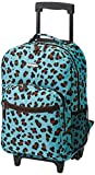 Rockland Double Handle Rolling Backpack, Blue Leopard, 17-Inch