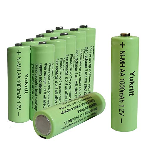AA Rechargeable Ni-MH Batteries 1000mAh High-Capacity Double A Battery, 1.2V Anti-Leak and Durable Pre-Charged Battery for Solar Garden Lights Flashlight Toys Remotes - Pack of 12