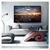 CBYLDDD New York City Sunset View Art Canvas Imprimir Pintura Paisaje Manhattan Imagen de la Pared Sala de Estar Decoración del hogar Cartel 16x24in Sin Marco
