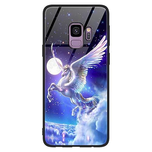 Yoedge Samsung Galaxy S9 Funda, [Anti Caída] Carcasa con Dibujos Animados Diseño [Bordes en Suave TPU Silicona] Híbrida Tempered Vidrio Bumper Case Cover para Samsung Galaxy S9, Caballo