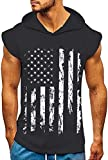 uideazone Men's Hooded Tank Tops American Flag Printed Gym Workout Sleeveless Muscle Shirt Dark Grey