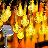 Solar String Lights, 33FT 80 LED Waterproof Bubble Crystal Balls String Fairy Lights, Battery Powered with 8 Modes, Outdoor Globe Solar Powered Lights for Home, Garden, Patio (Warm White)