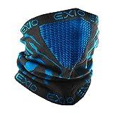 EXIO(エクシオ) ネックウォーマー フリーサイズ 冬 防寒 防風 バイク 登山 スポーツ 速乾 ブラック(ブルー)