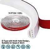 Qishare en caoutchouc de silicone Météo Strip, Seal Design multi-trous bande pour portes et fenêtres, auto Professionnel adhésif étanche Soundproof anti-poussière coupe-vent, 6M (type D, Blanc)