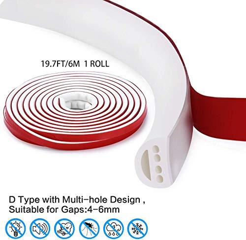 Qishare caucho de silicona Tiempo de Gaza,con múltiples orificios Diseño Tira de juntas para puertas y ventanas,Profesional de insonorización prueba de polvo impermeable a prueba de viento, 6M Blanco