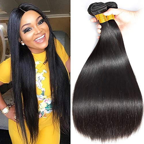 FZYhair 10A Human Hair Brazilian Hair 3 Bundles 100% Brazilian Remy Straight Hair Brasilianische Haare Straight Bündel Natural Color 12 14 16 Zoll