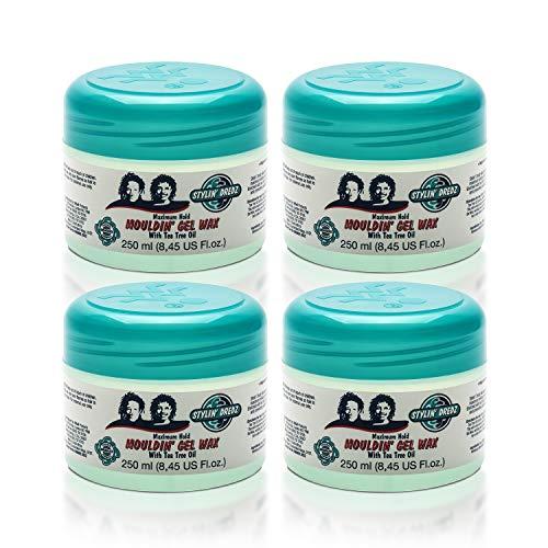 of hair styling waxes dec 2021 theres one clear winner Stylin' Dredz Mouldin' Gel Wax - Loc n Twist Gel - Dreadlock Gel Wax with Tea Tree Oil - 250 ml Pack of 4