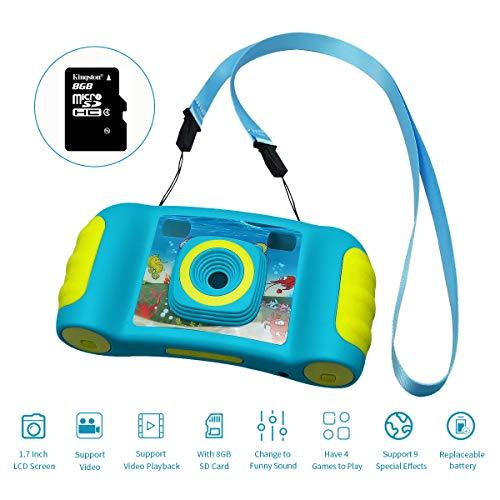 Hootracker Kamera Kinder, Digitalkamera mit 8GB MicroSD, HD Digital Videokamera mit 4X Zoom, Mini Kinderkamera, 1,7-Zoll-Farbbildschirm Blau