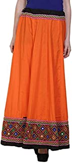 Vastraa Fusion Women Solid Traditional Long-Skirt with Matching Embroidered Border - Freesize; Suitable for 28 to 44 inches Waist