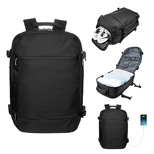 LA PAIX Travel backpack Duffel bag Messenger Carry-on Luggage Separate Shoes Latop comparment with USB charing port Water resistant Black