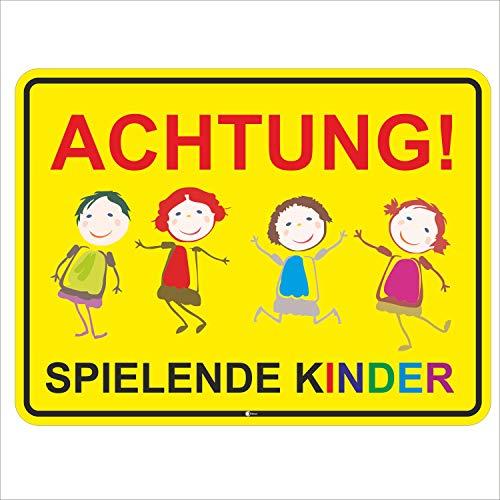 Hinweis-Schild Achtung spielende Kinder I Größe 40 x 30 cm I Straßen-Warnschild Spielstraße Spielplatz I Vorsicht Kids langsam fahren I hin_045