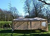 DeFacto® Pavillon 3x6m Faltpavillon Gartenzelt Partyzelt Garten Popup PVC-Oxford -100% wasserdicht 4- Seitenwand (3volle Wand in 3m und 1 Fenster) Tragetasche mit Seile und Nagel(Hellbeige)