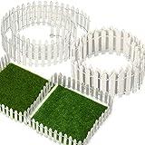 BBTO 40 Inch Length White Miniature Fairy Garden Fence and 6 x 6 Inch Artificial Garden Grass, 5 Pack Wooden Picket Fence Border Bonsai Fairy Garden Decoration Ornament