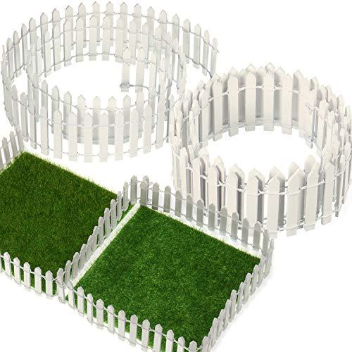 BBTO 3 Stück 40 Zoll Länge Miniatur Fee Garten Ornament Zaun und 2 Stück 6 x 6 Zoll Künstlich Garten Gras, Mini Holz Zaun Kunstrasen für Miniatur Ornament Garten Puppenhaus Gras Dekoration
