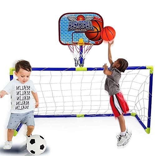FXQIN Portería de fútbol Basketball Hoop 2 en 1 para niños Soccer Goal Soporte de Baloncesto con aro de Baloncesto, Red y Bomba, para al Aire Libre, Actividades de Interior, Juguete