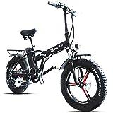 CHEER.COM Bicicleta Eléctrica Plegable 500W Motor 20 Pulgadas Ruedas Anchas 7 Velocidades Bicicletas Portátiles Beach Mountain Bicicleta Eléctrica Ligera con Batería De 48V 15Ah para Adultos,Black