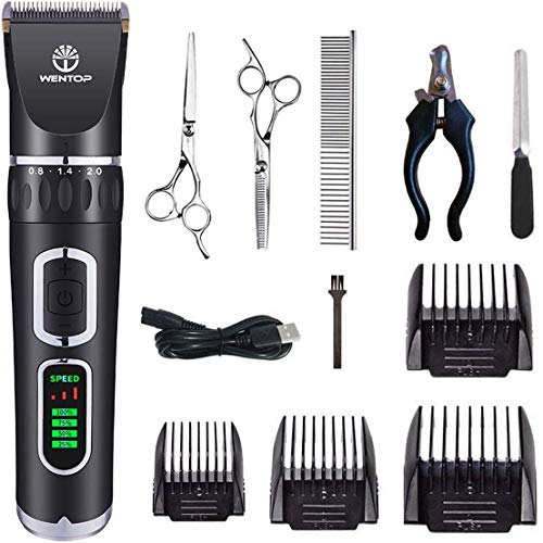 WenTop Dog Clippers 3-Speed Dog Grooming Clippers Kit USB Charge Dog Hair Clippers Low Noise Pet Clippers for Small Medium Large Dogs ,Cats and Other Pets