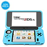TNP Silicone Case Compatible with New Nintendo 2DS XL LL - Soft Rubber Protective Grip Cover Sleeve Game Console Skin Guard Non-Slip Comfort Gel Ergonomic Controller Shell Accessories (Blue)